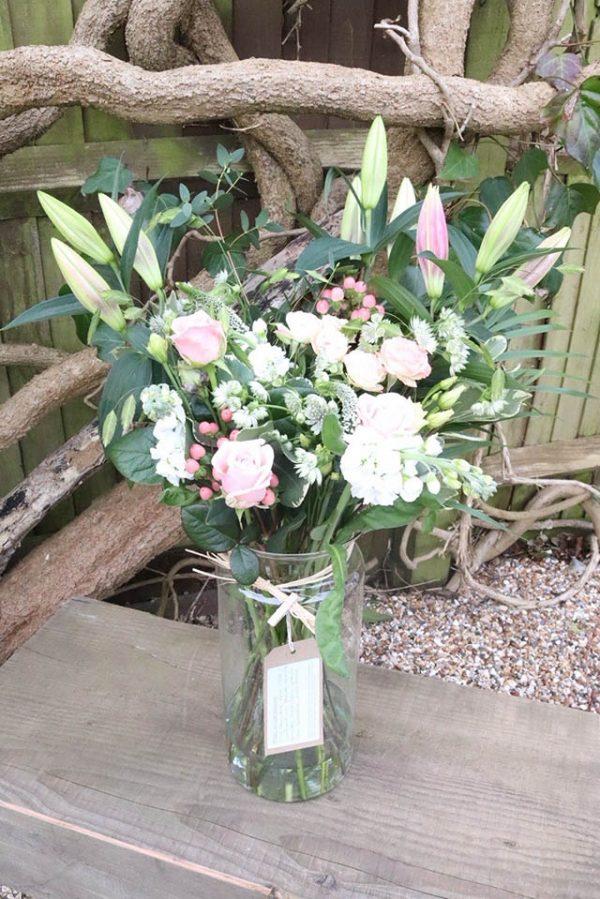 pink & white large vase 35cm